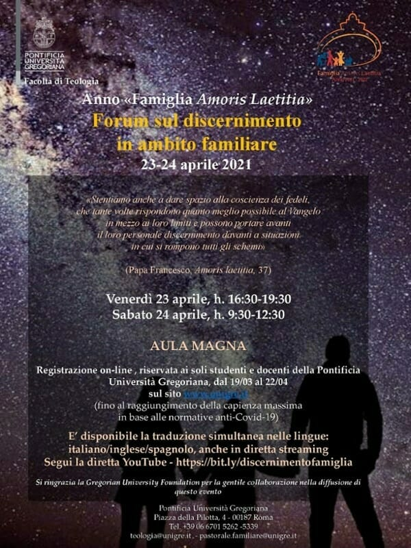 """Gregorian University to Host Forum on """"Discernment in the Family Sphere"""""""